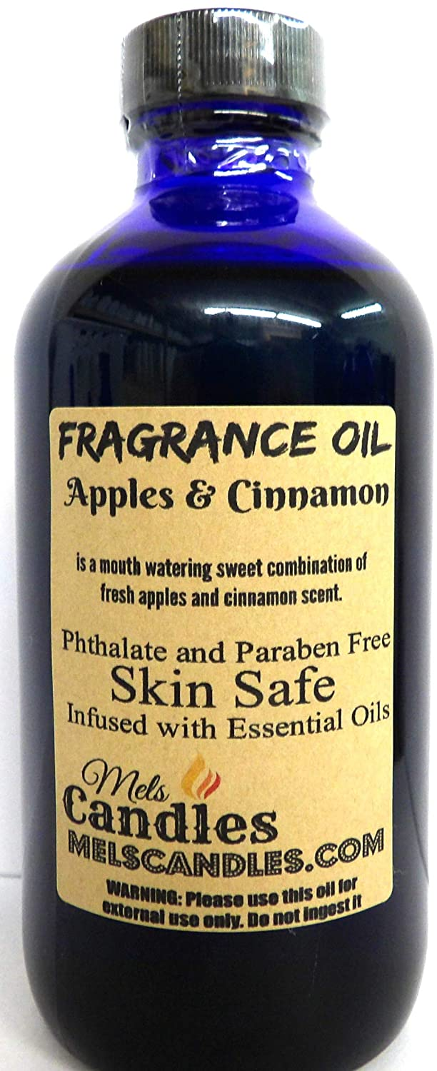 Apples & Cinnamon 4 oz Blue Glass Bottle of Premium Grade A Fragrance Oil, Skin Safe Oil, Use in Candles, Soap, Lotions, Etc