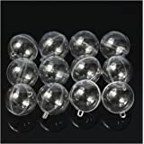 SODIAL 12Pcs 60mm Ball Christmas Baubles Clear Fillable Xmas Tree Decoration Ornaments