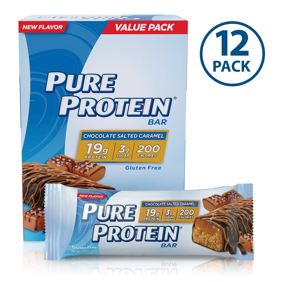 Pure Protein Bars, High Protein, Nutritious Snacks to Support Energy, Low Sugar, Gluten Free, Chocolate Salted Caramel, 1.76oz, 12 Pack by Pure Protein