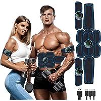 Moonssy EMS-trainingsapparaat, elektrische buikspiertrainer, spierstimulatie met 6 modi, 9 intensiteiten, USB-oplaadbare…