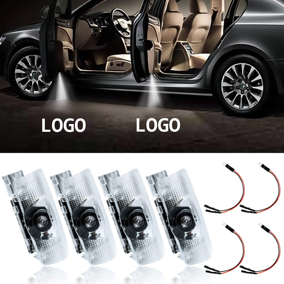 Door Shadow Projection Light Ghost Courtesy Logo Lamps for Lexus LS RX ES IS Car Door Logo Light 4PCS Projectors