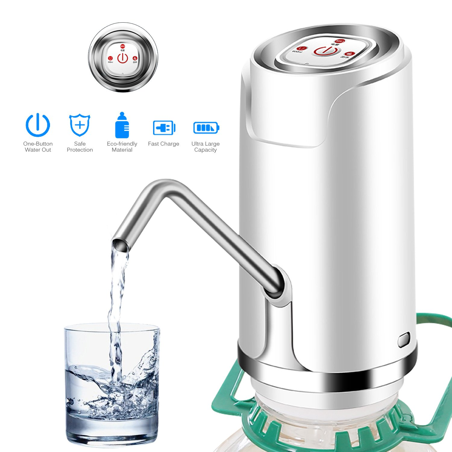 Drinking Water Pump, ONEVER Wireless Automatic Electric Drinking Bottle Water Dispensing Pump System with 5W USB Charging, Portable Press Pump Bottled Water Supply Device For Home and Office (White)