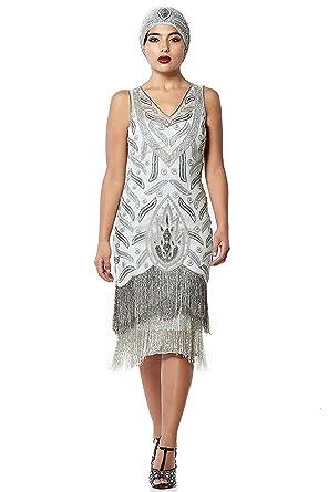 gatsbylady london Hollywood Vintage Inspired Fringe Dress in Grey Silver (US16 EU48)