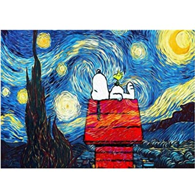 Jigsaw Puzzle 1000 Piece for Adults Puzzle 3D Wooden Classic Puzzle Snoopy Under The Stars Landscape DIY Collectibles Modern Home Decoration 75x50cm: Toys & Games