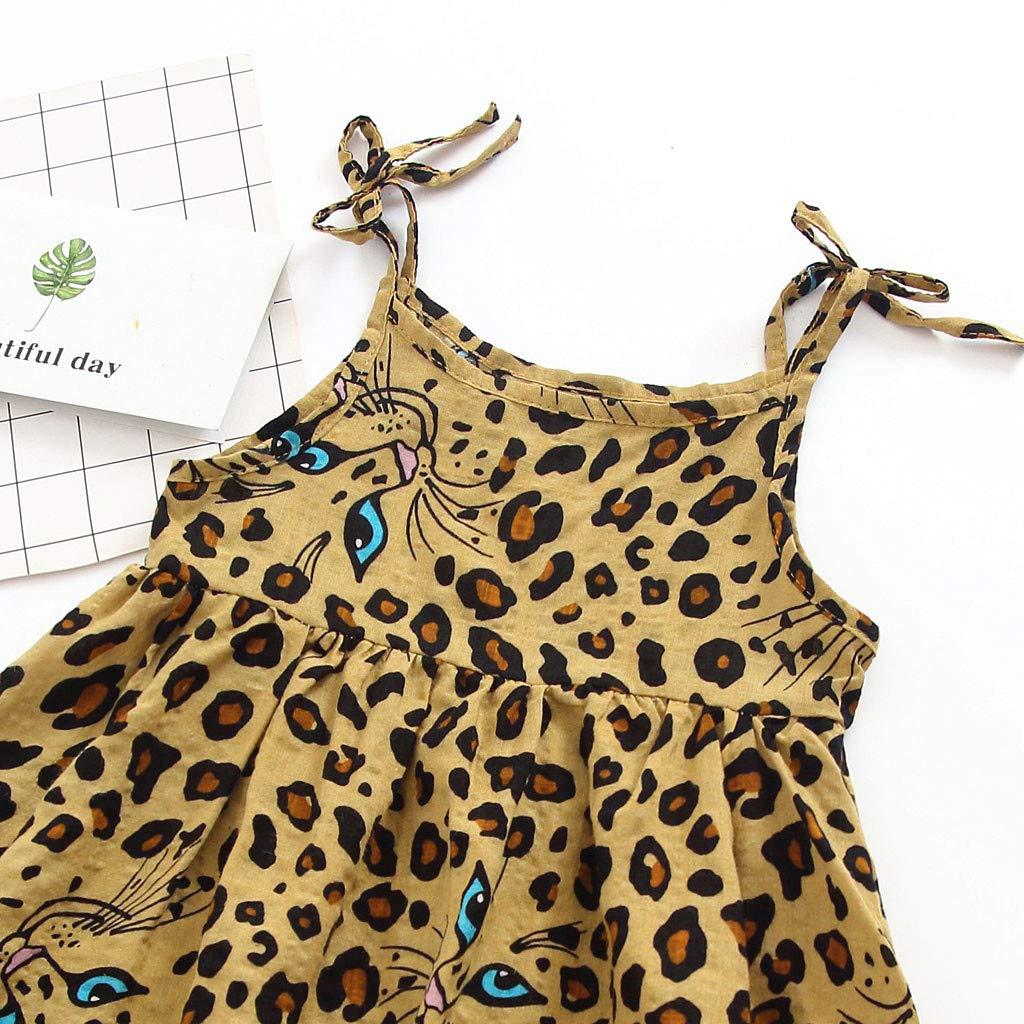 BYSTE/_Abito 2019 Nuovo Estate Vestito da Principessa Stampato del Partito Leopardo Senza Maniche Vestiti Infantile Camicia in Pizzo per Vestiti Bambina con Gonna in Tulle Piccolo Vestito