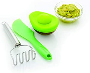 Farberware Healthy Eating Set Tool, Mini Masher, Avocado Food Hugger, 3-Piece, Green