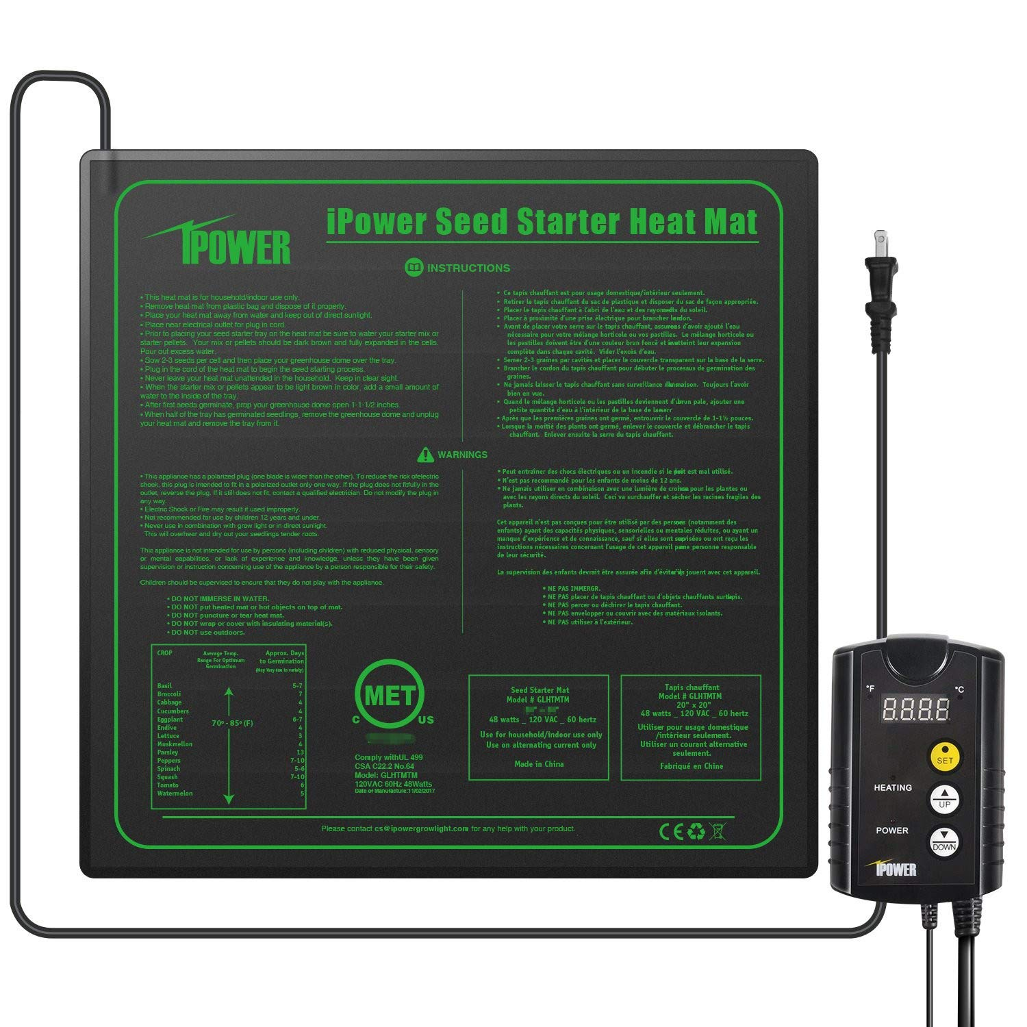 "iPower 20"" x 20"" Warm Hydroponic Seedling Heat Mat and Digital Thermostat Control Combo Set for Seed Germination, Black"