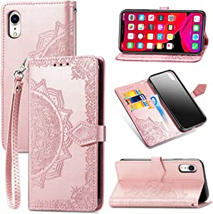 iPhone XR Case,iPhone XR Wallet Case,iPhone XR Phone Case,PU Leather Emboss Mandala Flowers Wrist Strap Folio Magnetic Kickstand Flip Cover with Card Slots for iPhone XR Rose Gold