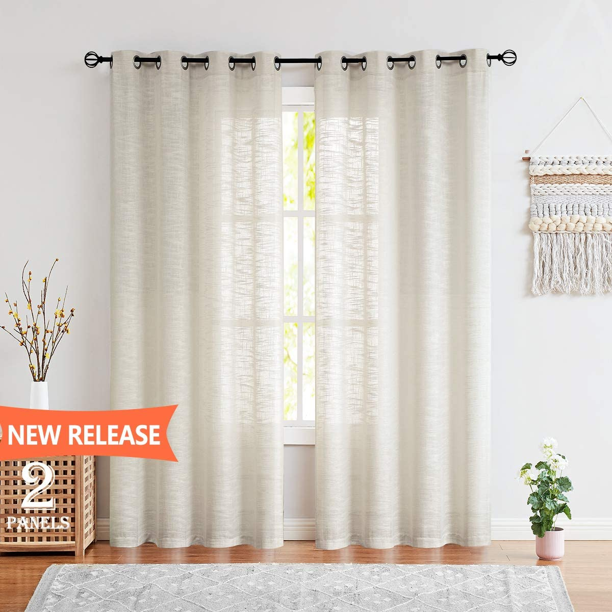 Fmfunctex Sheer Linen Curtains for Living Room Natural 108-inches Extra Long Rich Linen Textured Window Drapes for Bedroom Windows 52 w 2 Panels Grommet Top