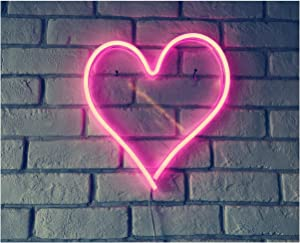 """Britrio LED Neon Light Sign, 13.4""""x12.6"""" Heart Shape Neon Sign Wall Hanging Sign Wall Art for Bar Bedroom Living Room Kid's Room Party,Home Decor Neon Night Light USB Powered(Pink Heart)"""