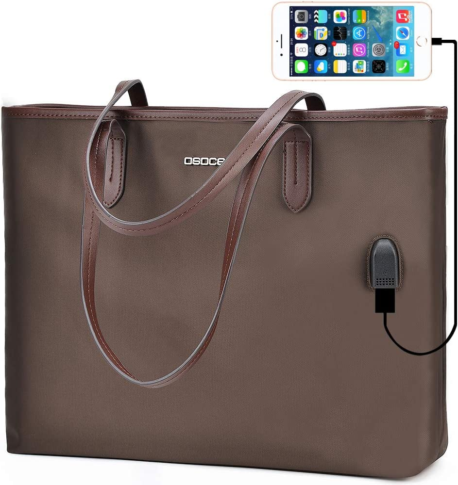 OSOCE Women Handbags Up To 15.6 '' Laptop Bag for Women, Office Bags Briefcase,Waterproof Laptop Tote Case for Women,Lightweight Tablet handbags (Coffee)
