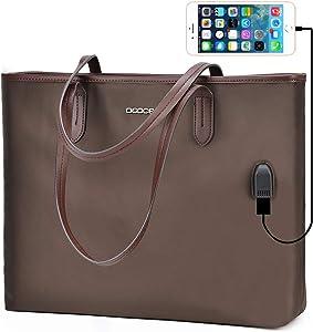 OSOCE Women Handbags Up To 15.6 '' Laptop Bag for Women, Office Bags Briefcase,Waterproof Laptop Tote Case for Women,Lightweight Tablet handbags (Coffee)