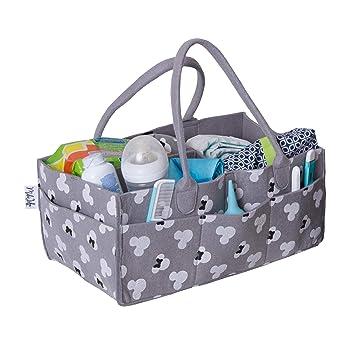 Grey Portable Car Travel Organizer Nursery Storage Bin for Changing Table Newborn Registry Must Haves