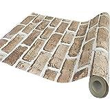 PLUS Home 壁紙 壁紙シール リメイクシート レンガ はがせる 防水 賃貸ok DIY 45cm×10m ライトブラウン