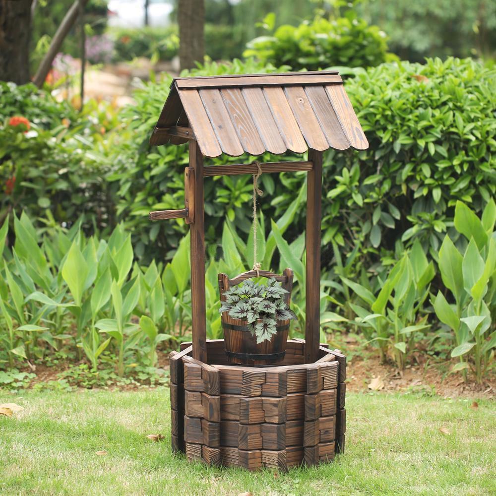 Amazon.com : LAZYMOON Outdoor Wishing Well Rustic Fir Wood Bucket ...