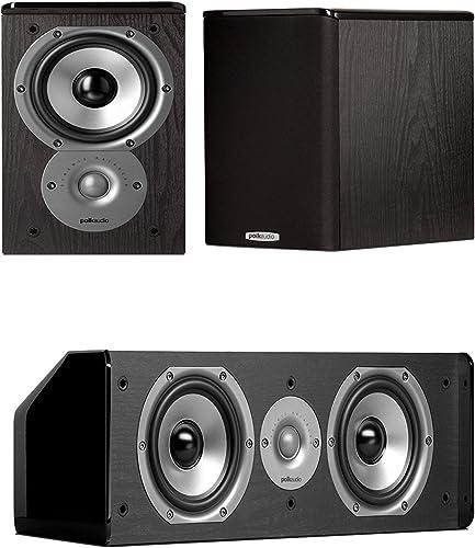 Polk Audio TSi100 Bookshelf Speakers Pair with A Polk Audio CS10 Center Channel Speaker Bundle