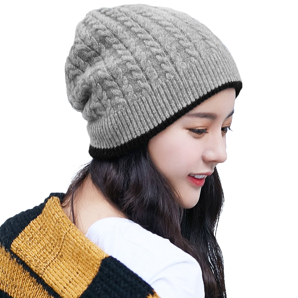 Siggi Unisex Wool Slouchy Beanie Double Knitted Winter Hat for Men  Women  Soft Skull 28dc4dcf9e24