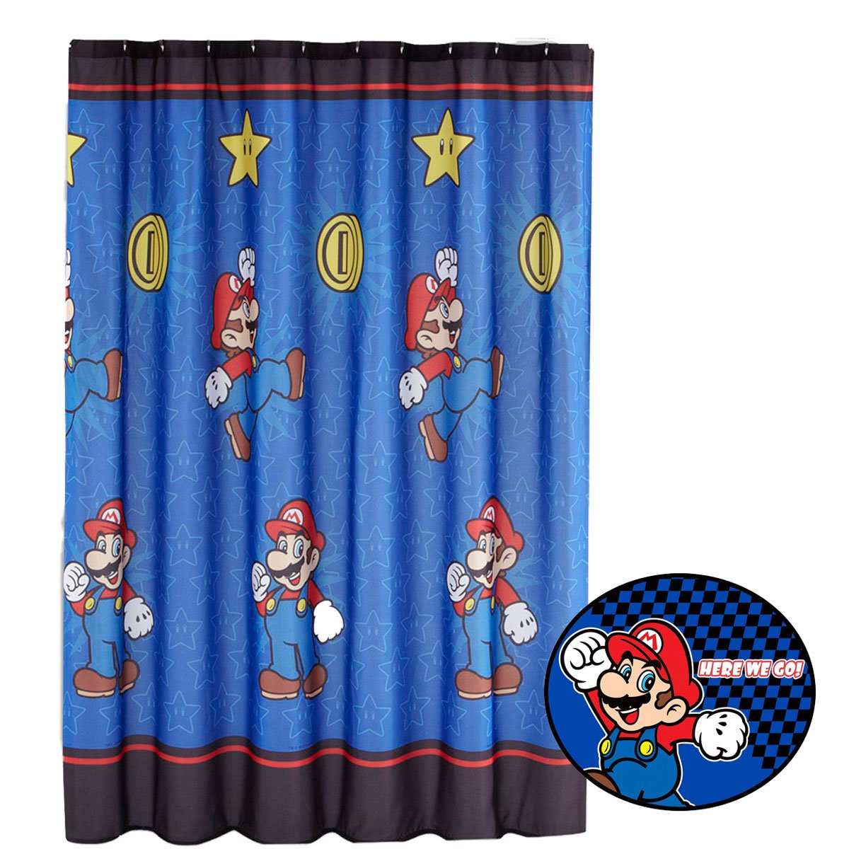 2pc Super Mario Brothers Shower Curtain And Bath Mat Set Nintendo Simply The Best Bathroom Accessories Amazonde Kuche Haushalt