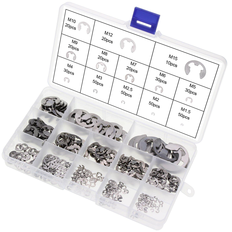AuSL E-Clip External Retaining Ring 400PCS 13Size Stainless Steel Snap Internal Circlip Ring Assortment Kit