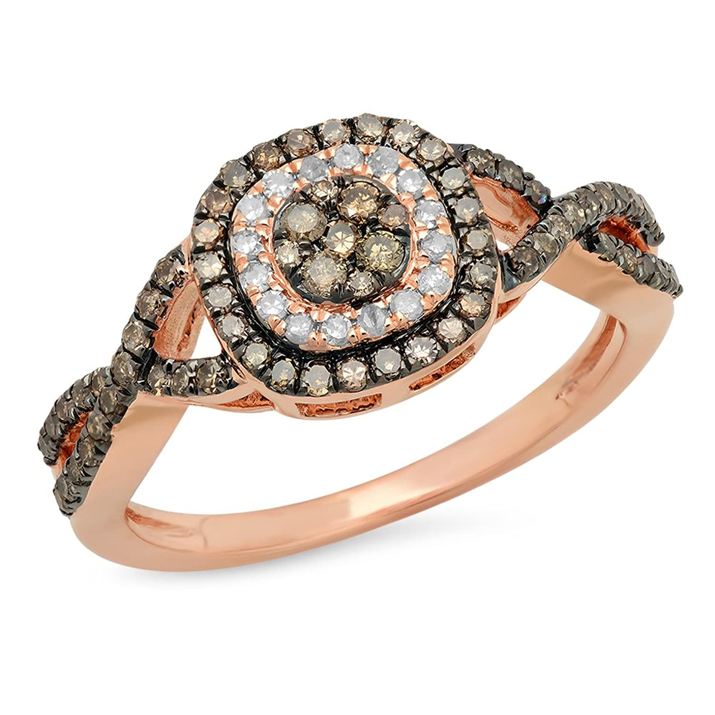 0.60 Carat (ctw) 14K Gold Round Champagne & White Diamond Cluster Style Swirl Bridal Engagement Ring