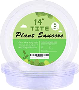 5 Pack Clear Plant Saucer Heavy Duty Sturdy Drip Trays for Indoor and Outdoor Plants (14 inch)