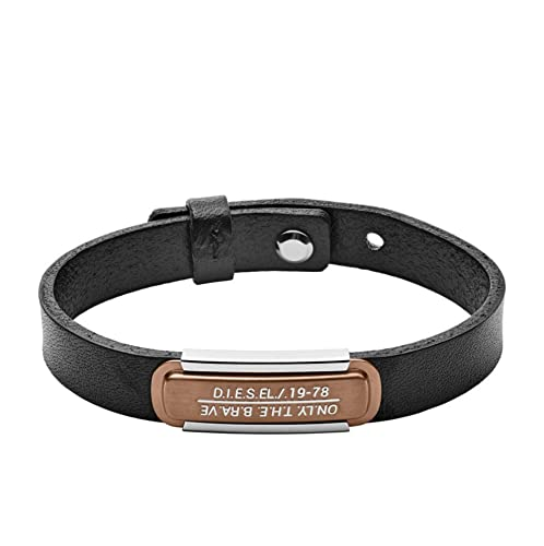 df948984bd3c5 Diesel Men's Black Leather and Copper Bracelet DX1092040 in Gift Box