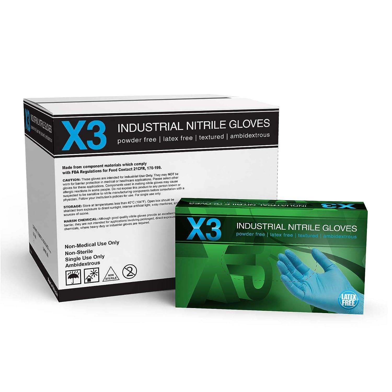 sin l/átex AMMEX X3LB42102E0BX Guantes de nitrilo desechables peque/ños azules GLOVEWORKS Grado industrial sin polvo 3 mil Caja de 100