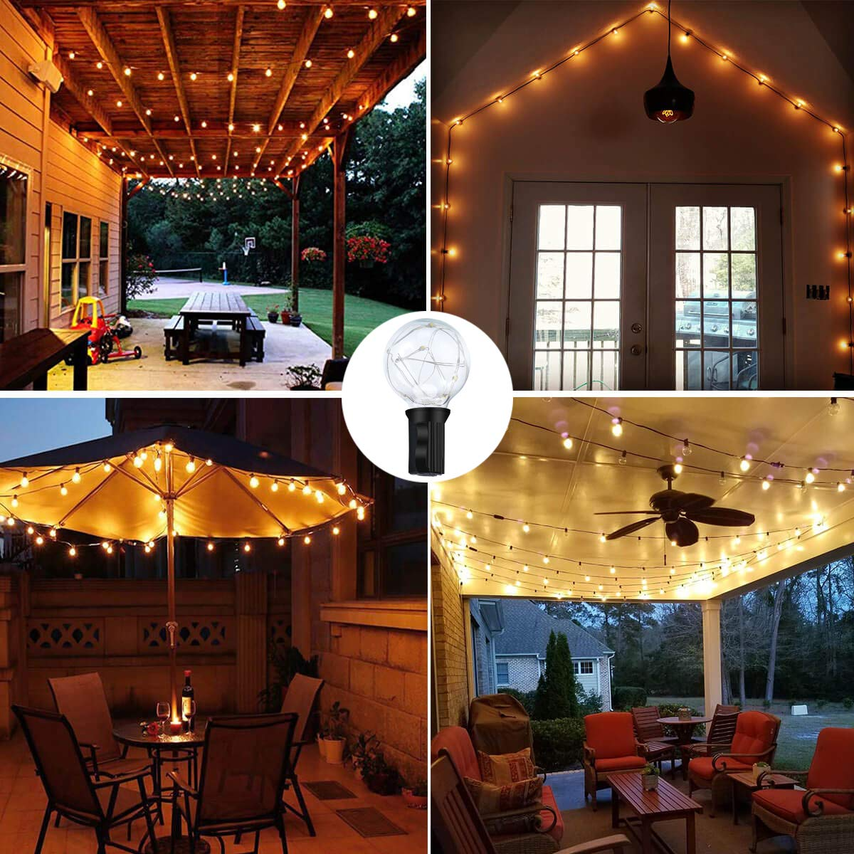 Aloveco Led Patio String Lights 32ft Waterproof Outdoor Globe