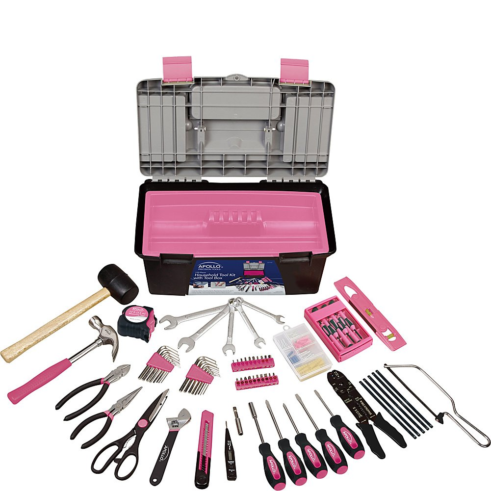 Apollo Tools 170 pc Household Tool Kit with Tool Box (Pink)