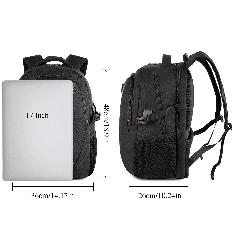 Business Travel Backpack 17 Inch Laptop Bag Waterproof USB College School Daypack
