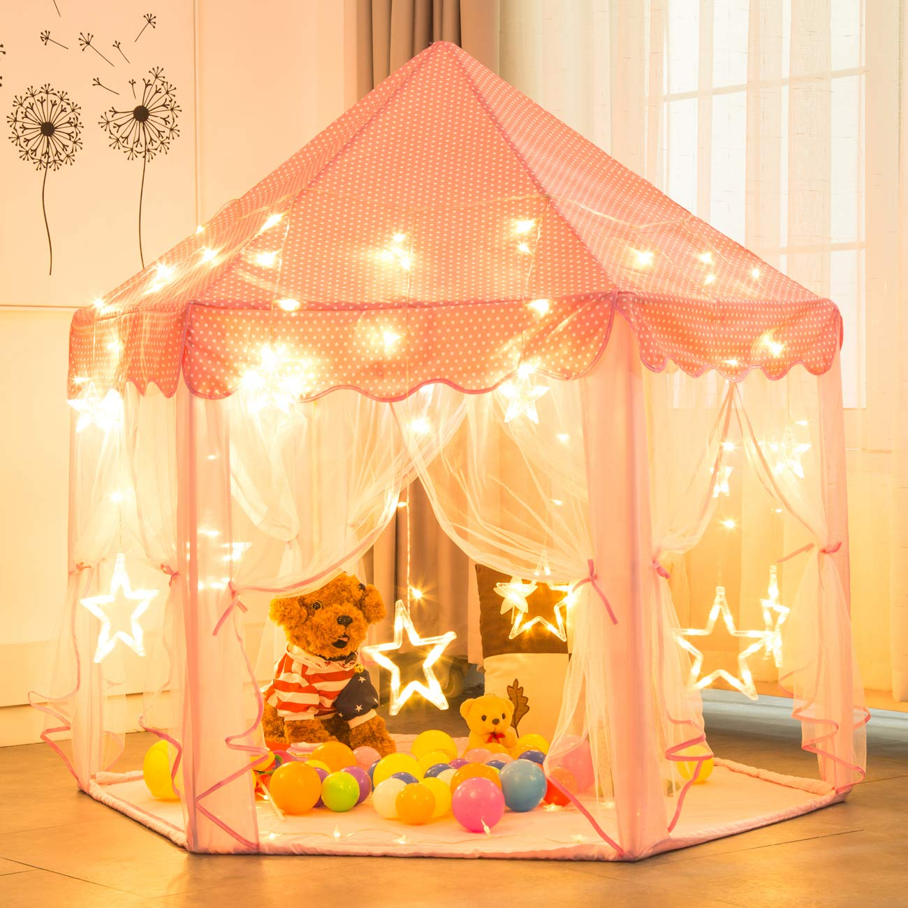 Sunnyglade 55'' x 53'' Princess Tent with 8.2 Feet Big and Large Star Lights Girls Large Playhouse Kids Castle Play Tent for Children Indoor and Outdoor Games by Sunnyglade (Image #2)