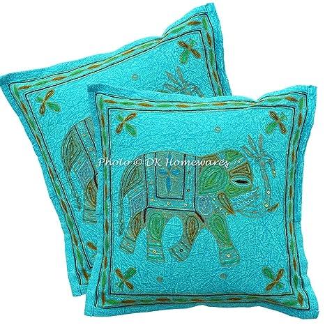 DK Homewares Indio 16 x 16 Pulgadas Bebé Turquesa Funda De Almohada Hilo de Oro Bordado Decoración De Habitaciones para Niños Elefante Fundas De ...