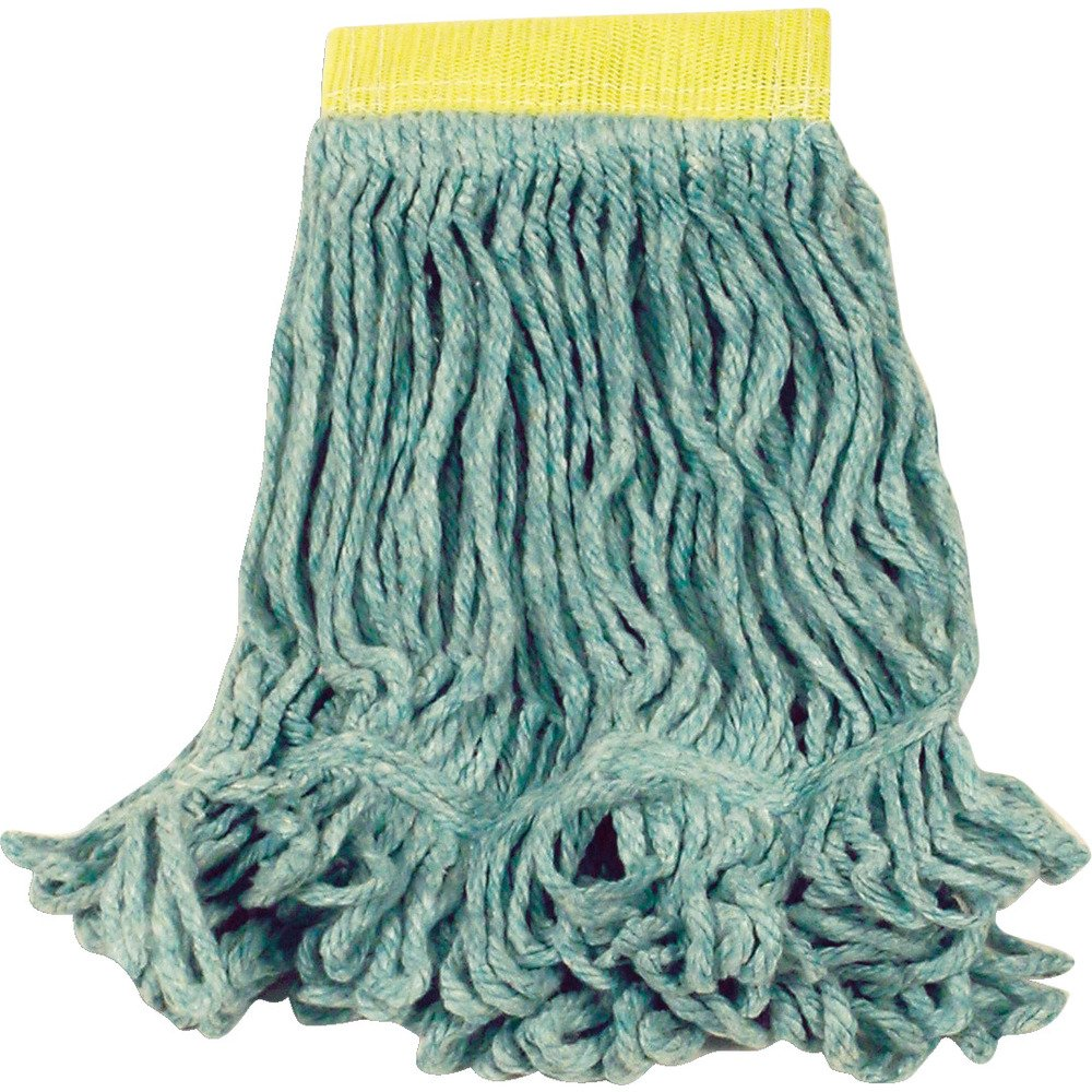 Pack of 6 Medium Rubbermaid Commercial Products FGD21206GR00 Super Stitch Blend Mop 1 Green Headband