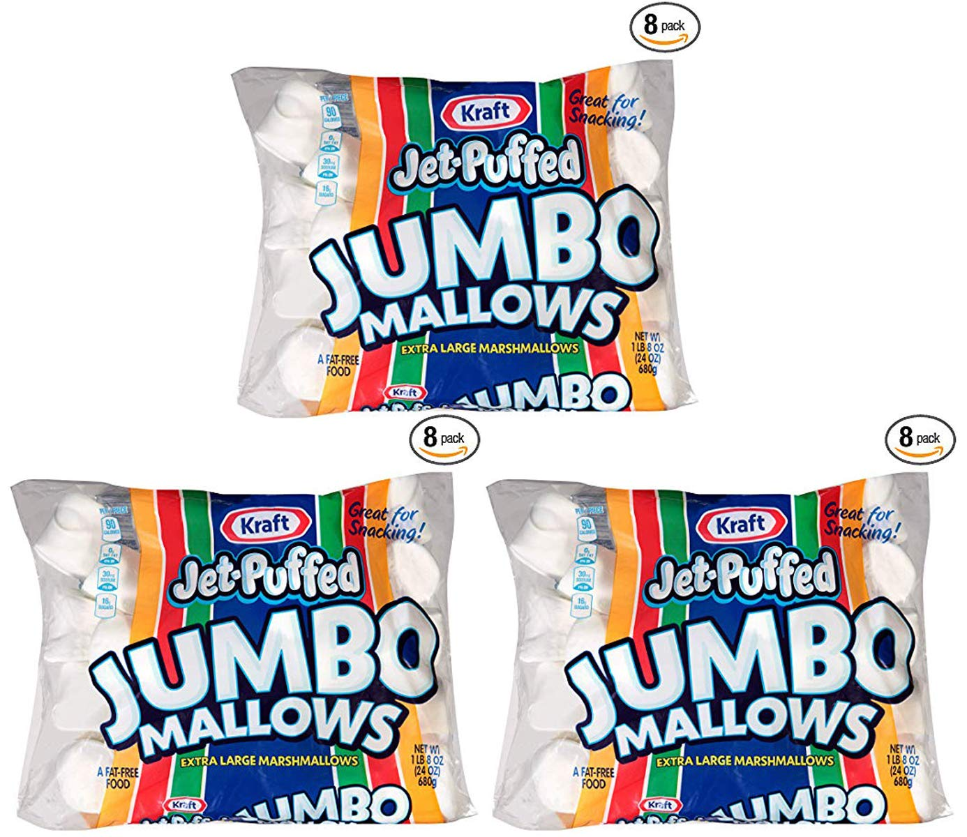 nhy Jumbo Marshmallows, 24 oz Bag, 3 Packs (8 Pack) by Jet-Puffed