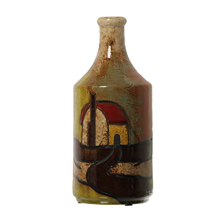 DRW - Jarrón de cerámica con Forma de Botella de cerámica Decorado con Casas ø13x30,
