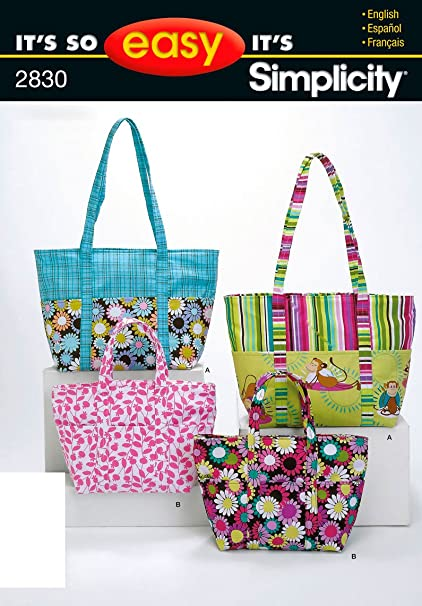 Amazon.com: Simplicity Sewing Pattern 2830 It\'s So Easy Bags, One ...