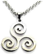 "Ann Claridge Triskele Necklace, Pure 304 Stainless Steel 26mm Triskelion Pendant on 20"" (50.8cm) Rolo Chain"