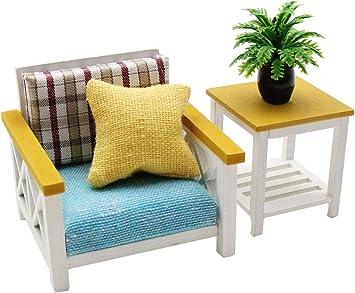 Amazon.es: Juego de Muebles de casa de muñecas en Miniatura a Escala 1:18 - Sofá Individual y Mesa Auxiliar - Mobiliario Miniatura a Escala 1:18: Juguetes y juegos