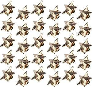 Chudian 30pcs Insignia de Estrella Pin de Solapa de Oro, Broche Pentagrama para Hombres Cuello Clip Pin Broche Camiseta Accesorios Pin Estrella Dorada para Mujeres