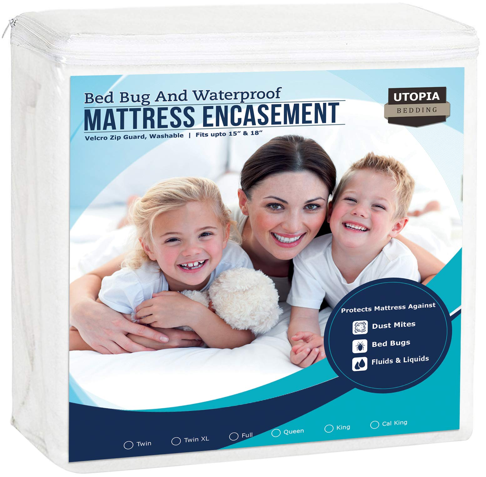 Utopia Bedding Zippered Mattress Encasement - Waterproof Mattress Protector (Full) product image