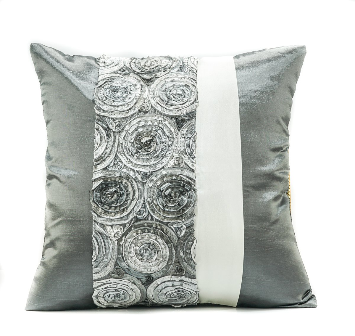 Narphosit Round Two Tone Colour 3d Bouquet Roses with White Stripe Thai Silk Cushion Cover Throw Pillow Case (grey)