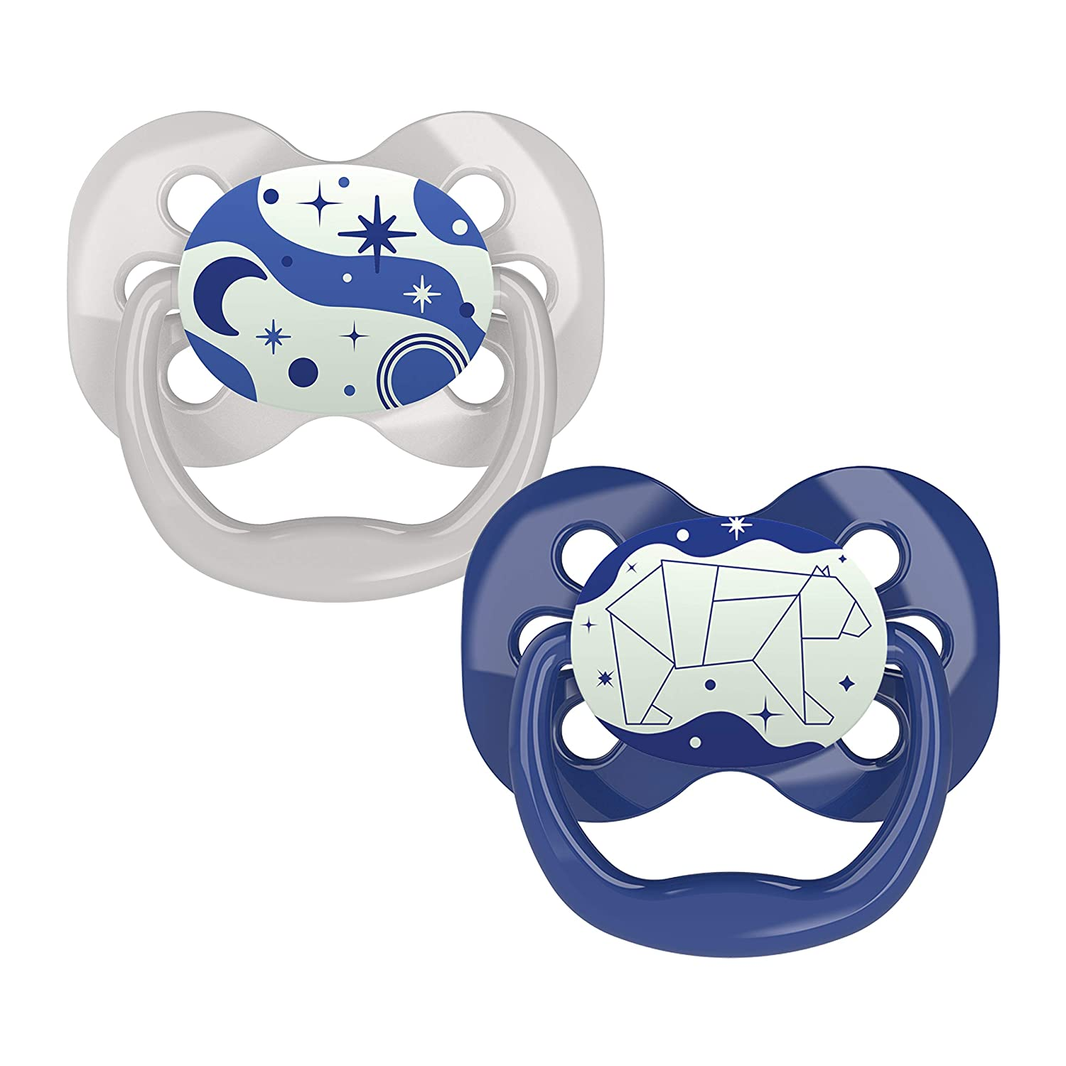 Dr. Browns Advantage Glow-in-The-Dark 2 Piece Stage 1 Pacifiers, Blue, 0-6 Months
