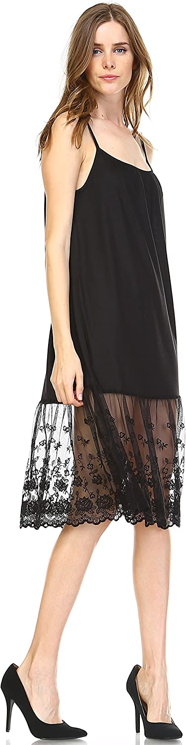 Solid Knit lace Full Slip Short Dresses Tops Tunics Extender with Adjustable Straps