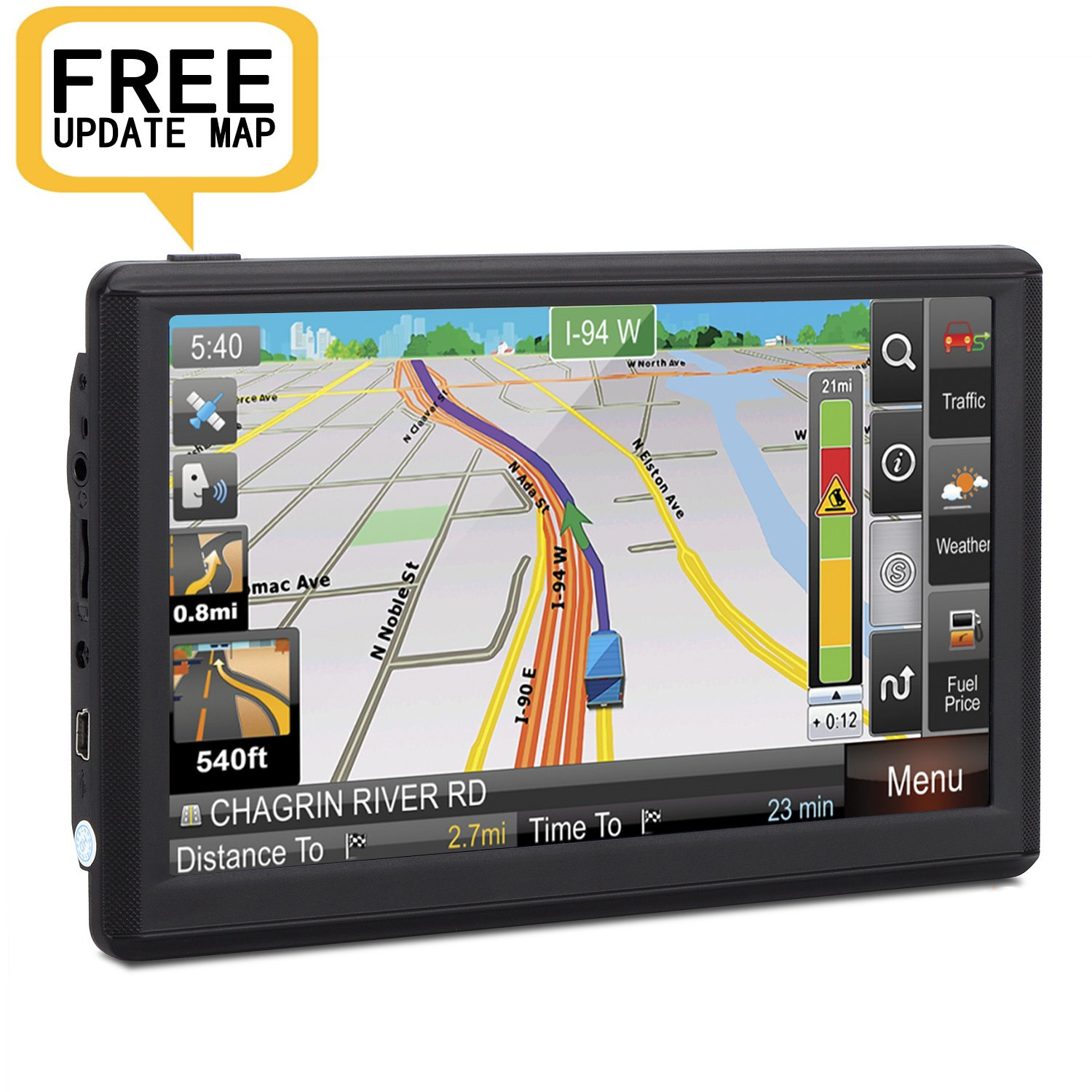 Car GPS Navigation, 7 inch Portable GPS Navigator Electronic Touchscreen Voice Turn-by-Turn Instruction, Sat-Nav DDR128M 8GB Latest Maps Free Lifetime Map Update