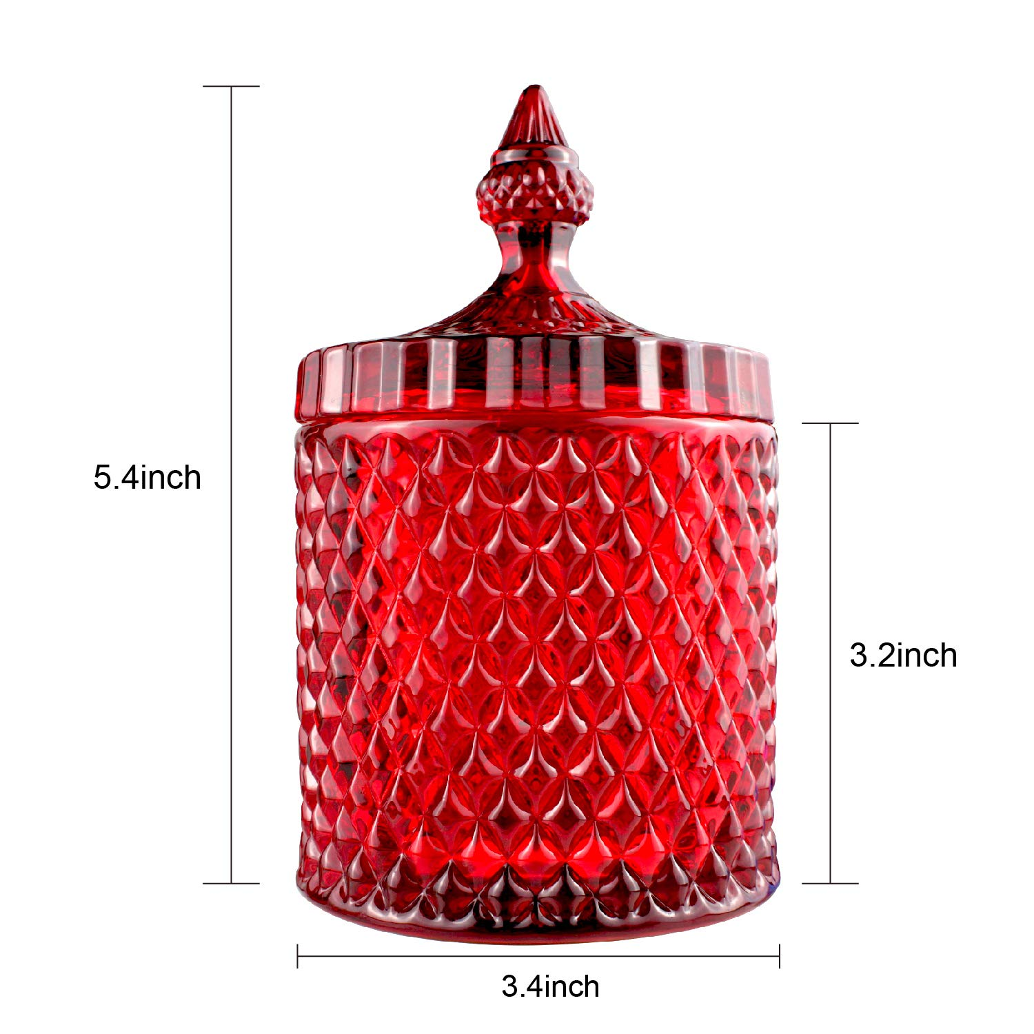 Candy Jar, Clear Glass Apothecary Container, Biscuit Barrel, Cookies Tin, Dry Food Storage Canister Crystal Weave Wedding Decorative Buffet Jars with Lid (Red, Middle)