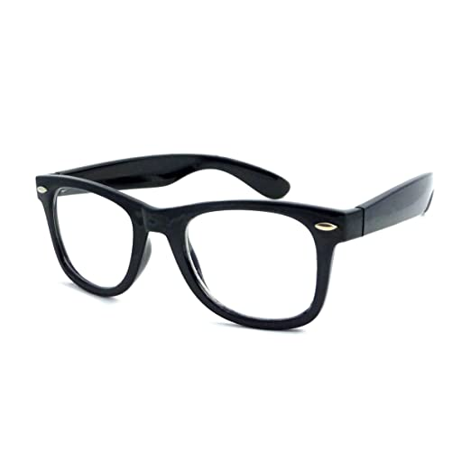 3e5f6113bab Image Unavailable. Image not available for. Color  RETRO Thick Horn Rimmed  Trendy Frame Clear Lens Eye Glasses BLACK