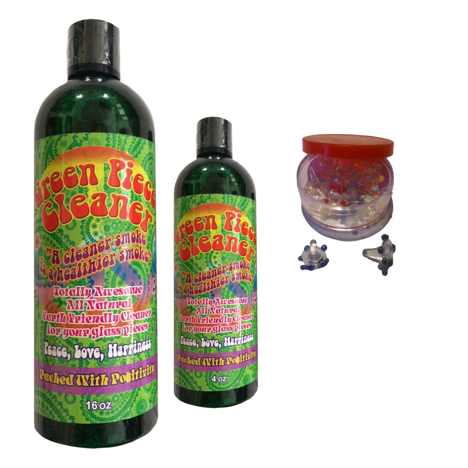 Green Piece Cleaner 16 oz - Free travel size and Free 20 pack of daisies! The All Natural Glass Cleaner, Metal and Ceramic Water Pipe/Bong/Bubbler - Earth Friendly Resin and Tar Remover