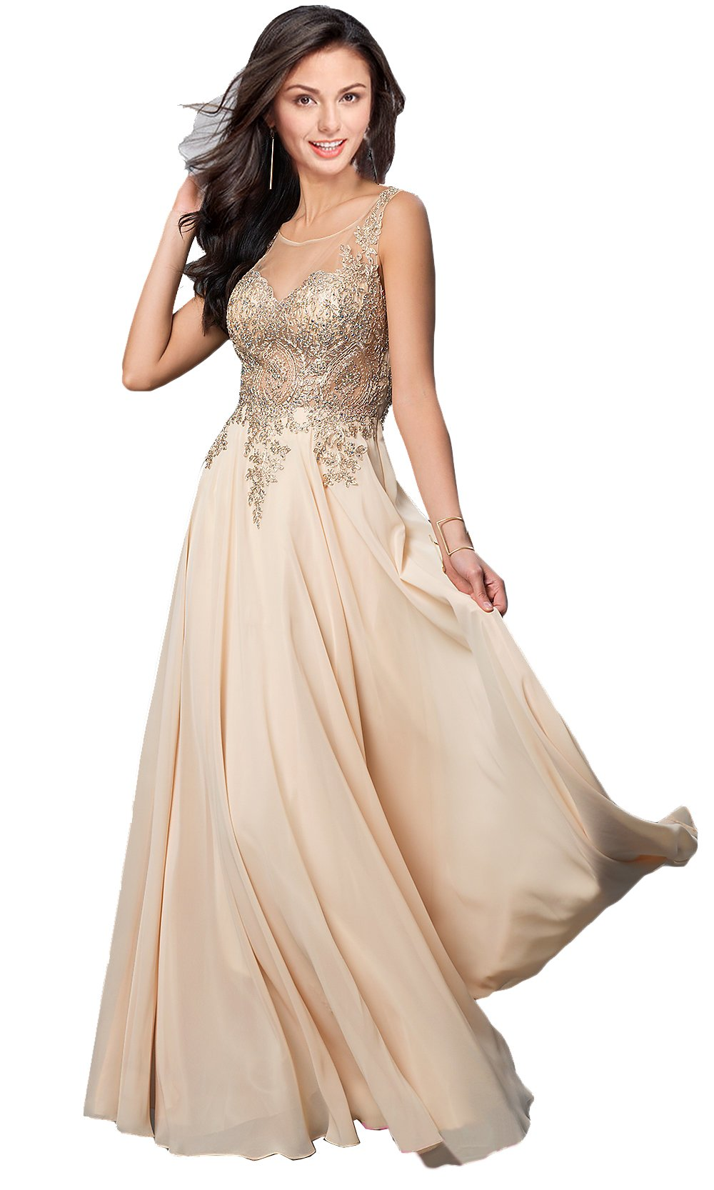 Rongstore Women's A line Chiffon Long Appliques Formal Evening Party Dresses Champagne US 20W