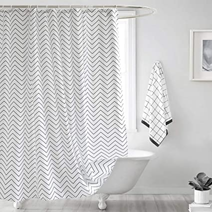 Wet Room Shower Curtains >> Aorro White Shower Curtain Set Modern Simple Black Stripe