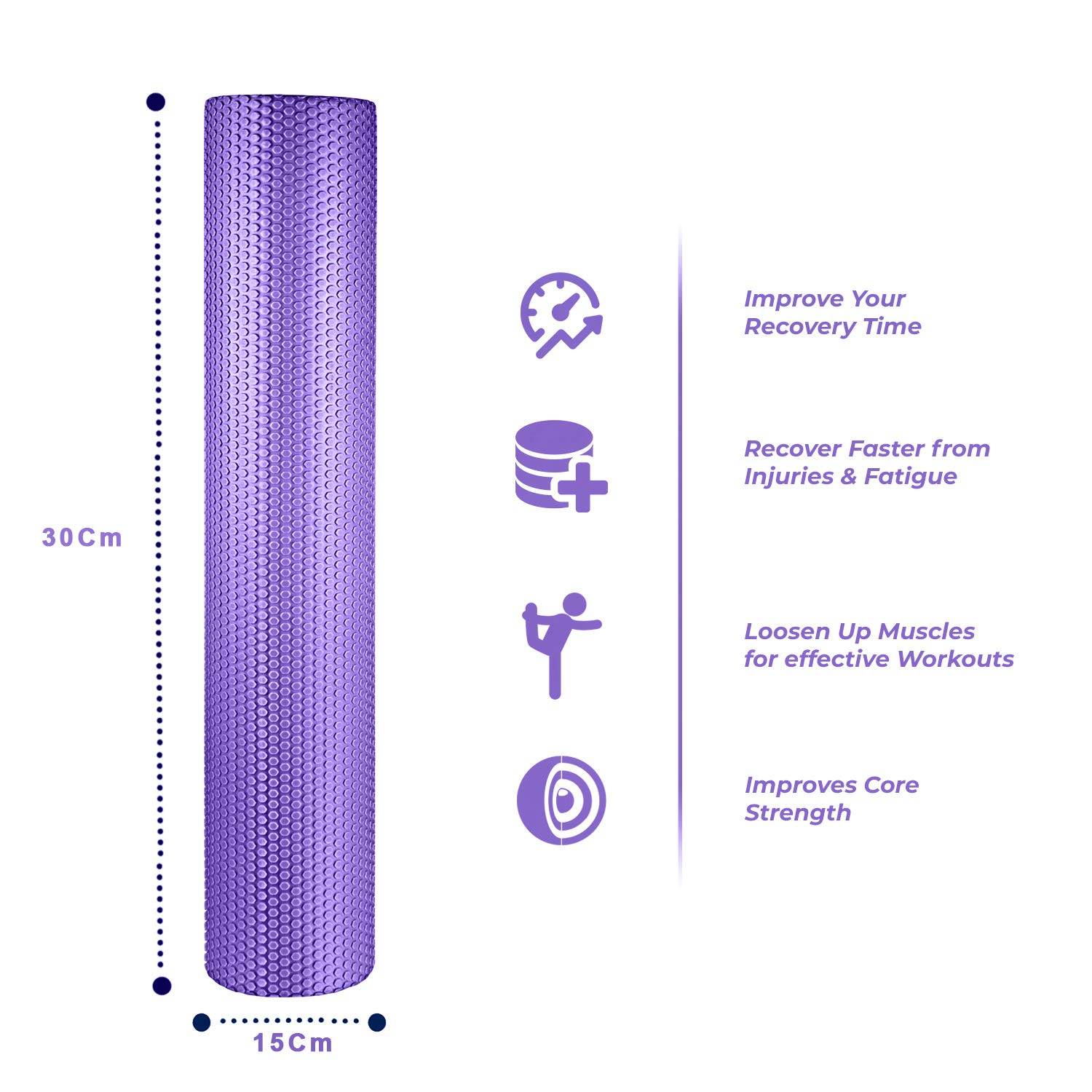 spinway Yoga Foam Roller Speckled Foam Rollers for Muscles Extra Firm High Density for Physical Therapy Exercise Deep Tissue Muscle Massage (Purple)
